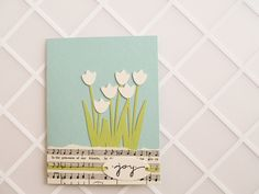 Music and Tulips- Handmade Greeting Card - robins egg blue, green, ivory, garden, pastel, spring, Easter, baby, friendship