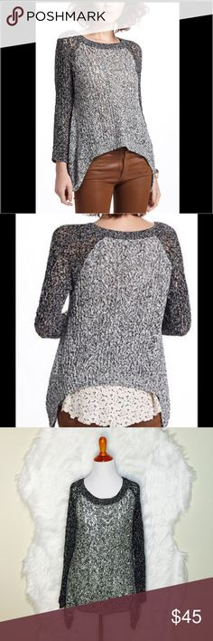 """Anthropologie Leifnotes Dipped Lace Marled Sweater It is a loser fitting style by Anthropologie. The lace detail in the back is perfect & leaves you with a touch of feminine passing by. Laid flat across @ bust: 18.5"""", Length: 24"""". NWOT Anthropologie Sweaters Crew & Scoop Necks"""