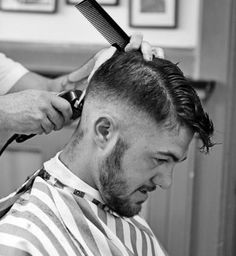 Pics and Vids of Men losing Hair Undercut With Beard, Beard Haircut, Undercut Men, Barber Apron, Slick Hairstyles, Shaved Head, Shaved Sides, Prevent Hair Loss, Haircuts For Men