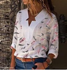 Load image into Gallery viewer, Special V Neck Printed Blouses Casual Skirt Outfits, Mode Outfits, Red Blouse Outfit, Blouse Dress, Shirt Blouses, Red Blouses, Summer Blouses, Autumn T Shirts, Stylish Dress Designs