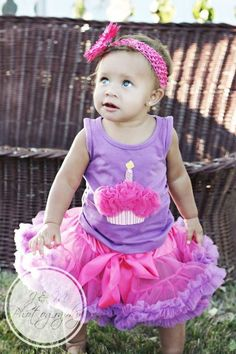 063ddcd855c4f Pink and Purple Girl s First Birthday Tutu Outfit