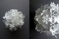 Tyvek paper bauble/Christmas decoration with cut out linking snowflakes / sarah louise matthews