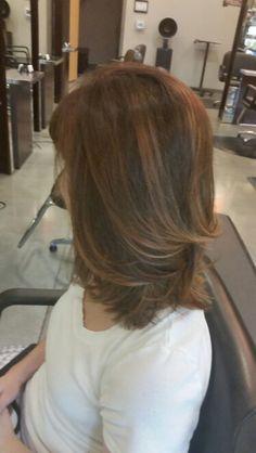 Balayage rose gold and haircut by Ashley Bean