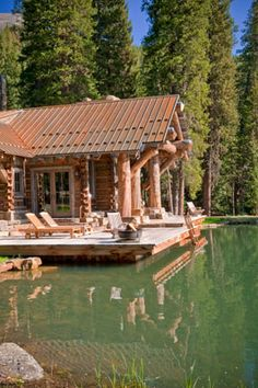 Lake front, modern log cabin. All it needs is a dirt bike track out front and I'm set.