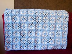 Blue and white granny square baby afghan by CrochetZone on Etsy, $44.99