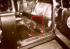 Interior photo of limousine back seat after car was returned to Washington.  Photos from Parkland Hospital show evidence being washed out of the car.