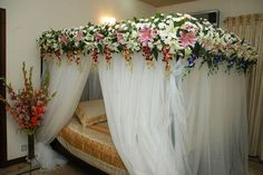 Here is Bedroom Decoration for Wedding Night Ideas Photo Collections at Modern Bedroom Gallery. More Design Bedroom Decoration for Wedding Night Ideas for your references can you found at her Wedding Bedroom, Romantic Bedroom Decor, Romantic Room, Romantic Beach, Bridal Room Decor, Wedding Night Room Decorations, Stage Decorations, Exotic Bedrooms, Beautiful Bedrooms