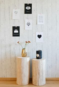 Use tree trunk pedestals as display plinths for special items, or as side/coffee tables with rustic appeal. Find similar at www.thelogbasket.co.uk