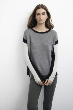 this colorblock cashmere sweater is the perfect transitional piece for fall