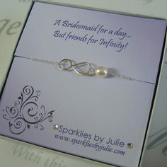 Friends for Infinity, Fancy Bridesmaids Invitation with Silver Infinity bracelet, Thank You Gift, Bridesmaid, Maid of Honor, Flower Girl. $32.50, via Etsy.