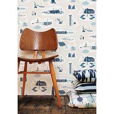 Buy Mini Moderns Dungeness Wallpaper, Denim, AZDPT023WD Online at johnlewis.com