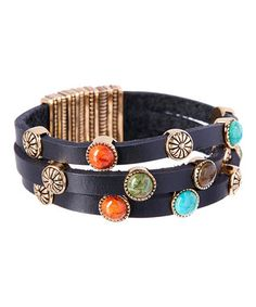 Assorted Stone & Brown Leather Bracelet