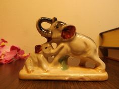 Elephant family, porcelain Animal Statue,Mom and baby. figurine,  Exotic Animal.Home, office decor, shelf decor.Gift by HuntWithJoy on Etsy