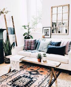 Boho, bohemian home.  Living room decor