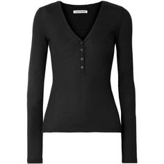 Elizabeth and James Ester waffle-knit cotton and modal-blend top (7.115 RUB) ❤ liked on Polyvore featuring tops, black, waffle top, elizabeth and james, henley top, cotton modal tops and slimming tops