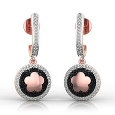 Black Beauty in Pink Gold Earrings