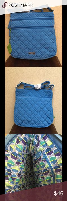 """NWT VERA BRADLEY TRIPLE ZIP HIPSTER New with tags Vera Bradley triple zip hipster  Coastal blue Slim crossbody style Two front zippered compartments,one with two slip pockets inside  Slip pocket on back Adjustable shoulder strap  11 3/4"""" W x 11 1/2"""" H x 1 3/4"""" D with 55"""" adjustable strap.   Smoke/pet free home Vera Bradley Bags Crossbody Bags"""