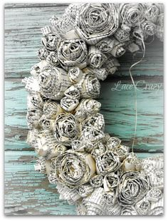 """I have seen a few """"Paper Rose Wreaths"""" lately...     And, they are gorgeous~!         There is something about the color and patina of ..."""