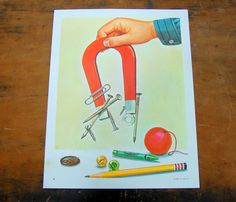 Educational Poster Magnets Science Teaching by VintagePaperology, $15.75