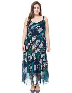 Chicwe Women's Lined Sleeveless Plus Size Maxi Dress with Adjustable Straps * Find out more about the great product at the image link.