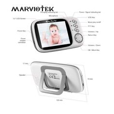 Baby Monitor with camera inch LCD Night Vision 2 way Talk 8 Lullabies Temperature monitor video nanny radio babysitter Baby Monitor, Night Vision, Mobiles, Computers, Bluetooth, Headphones, Happy Birthday, Xmas, Led