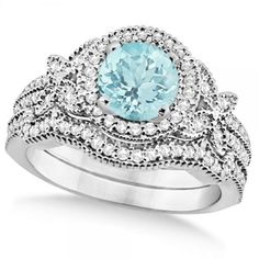 Butterfly Halo Diamond Aquamarine Bridal Set in 14k White Gold (1.58ct), Women's, Size: 5.5