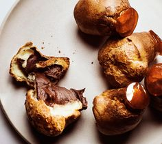 These savory popovers are made with cheddar cheese, which keeps the dessert from veering into overly sweet territory.
