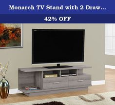 """Monarch TV Stand with 2 Drawers, 60"""", Dark Taupe. Complete your home decor with the simple contemporary elegance of this dark taupe reclaimed-look TV console. With ample surface area that can accommodate up to a 60"""" flat panel tv this piece will add style and functionality to any living room. Featuring 2 large storage drawers for DVDs, CDs or other AV accessories and 4 open concept shelves perfect for your electronic components this unit is sure to keep you organized in style. Sleek…"""