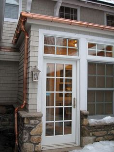 copper gutters and down spout