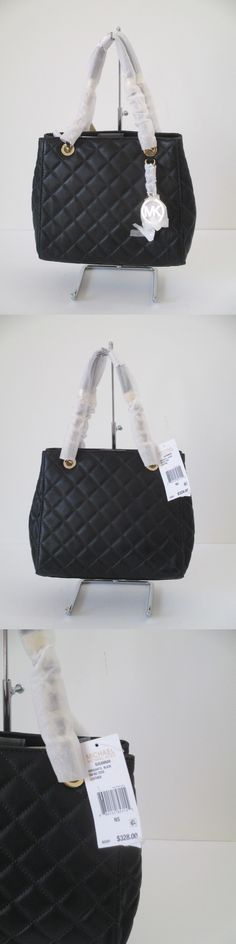 Women Handbags and Purses: New Michael Kors Susannah Quilted Black Leather Small Tote Satchel Handbag BUY IT NOW ONLY: $148.0