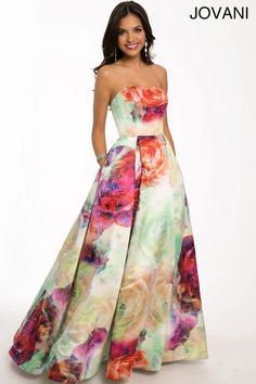 Top 3 Floral Prom Ball Gowns by Jovani 2015: Amazing strapless floral galaxy Jovani prom ball gown dress 2015