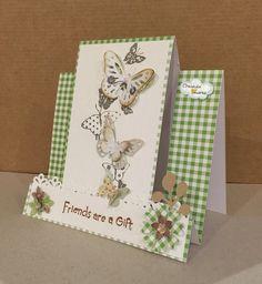 #Tarjeta en tonos verdes, con mariposas y flores (#step #Card).#CreandoAmoresLive