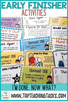 "These 40 Early Finisher Task Cards are a great way to answer the common classroom question, ""I'm Done."" Creative thinking, sequencing, writing and cause and effect skills are taught through these engaging activities. I'm Done Activities, 5th Grade Activities, Early Finishers Activities, Enrichment Activities, Writing Activities, Im Finished Now What, Teacher Resources, Teaching Ideas, Teaching Strategies"