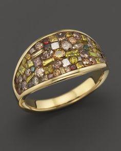 Plevé 18K Yellow Gold Cinnamon Mosaic Wrap Ring with Diamonds   Bloomingdale's