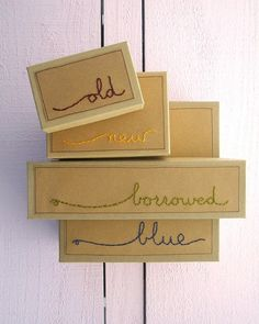 Custom Embroidered Gift Box For Brides Something Old New Borrowed Blue