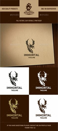 Immortal Logo by naqqosh This logo design for all creative business. Logo Template Features AI and EPS CMYK 100 Scalable Vector Files Easy to edit colo Logo Design Template, Logo Templates, Brand Competition, Fantasy Logo, Boat Brands, Print Fonts, Information Graphics, Symbol Logo, Monogram Logo