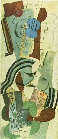 Woman with guitar, 1913, Pablo Picasso Size: 116x48 cm Medium: charcoal, collage, oil on canvas