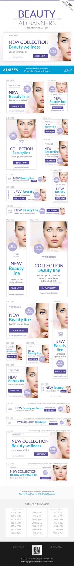 Beauty Ad Banners Design Template - Banners & Ads Web Template PSD. Download here: https://graphicriver.net/item/beauty-ad-banners/9639015?s_rank=19&ref=yinkira