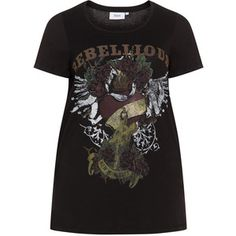Zizzi Black / Multicolour Plus Size Rock motif t-shirt