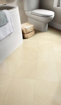 Light and airy bathroom, gorgeous Peakmoor Sandstone floor design