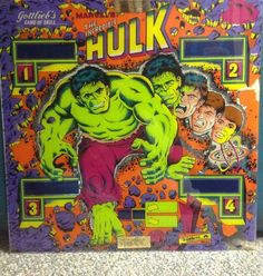 Vintage Gottlieb's 1979 Incredible Hulk Pinball Backglass