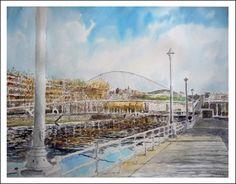 Cuadro en acuarela de Bilbao del puente El Zubizuri. Uno de los cuadros en acuarela de la serie del País Vasco pintados por Rubén de Luis