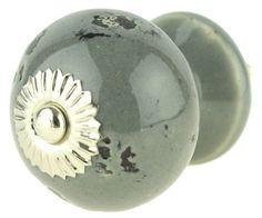Grey Ceramic Knob & Base w/ Aged Chips