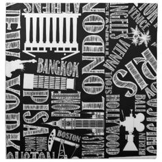 World Famous Cities, Black and White, Modern Napkin