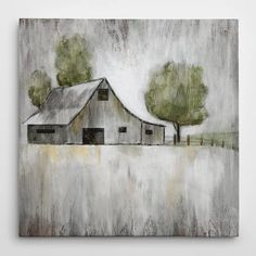 "Illustration of an old grey barn with a few trees on a grey landscape. ""Weathered Barn"" wall art by Nan F from Great BIG Canvas. Painting Frames, Painting Prints, Art Prints, Painting Flowers, Canvas Artwork, Canvas Prints, Big Canvas, Black Canvas, Farmhouse Paintings"