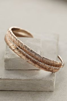 Feathered Cuff, in rose gold | Anthropologie