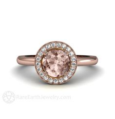 Round Halo Morganite Engagement Ring Plain Band 14K door RareEarth