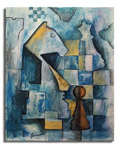 chess city scapes | blue chesse – cubist painting
