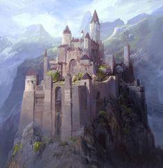"""Daily Fantasy Art on Instagram: """"Art by Jae Cheol Park @paperbluenet #fantasydaily #fantasy #fantasyart # Fantasy castle Fantasy city Fantasy landscape"""