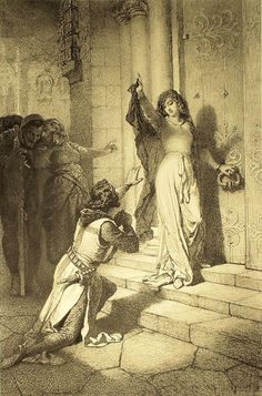 File:Mihály Zichy - Illustration to Imre Madách's The Tragedy of Man - In Constantinople (Scene 1096 AD. Adam is Prince Tancred, Lucifer is his squire, Eve is a noble maiden forced to become a nun. Fantasy Kunst, Fantasy Art, Bedroom Scene, Antique Prints, Erotic Art, Art World, Digital Illustration, Istanbul, Fine Art